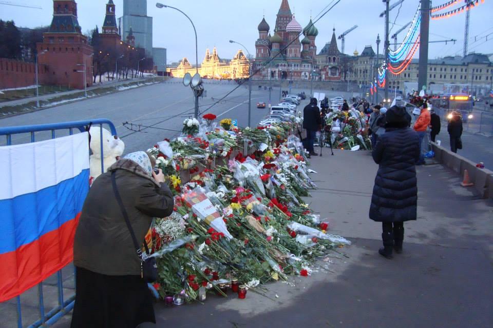 Место убийства Бориса Немцова на Большом Москворецком мосту