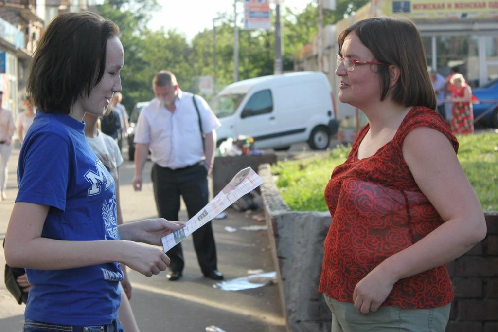 Юлия Галямина с жителями Савёловского района
