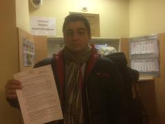 Сергей Давидис подает уведомление об антивоенном митинге