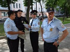 Сотрудники полиции на Гоголевском бульваре