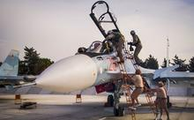 Российский истребитель Су-30 на авиабазе Хмеймим в Латакии. Фото: AP