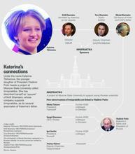 Reuters. Диаграмма, показывающая спонсоров и попечителей проекта МГУ под названием Иннопрактика, связанного с дочерью Путина Катериной Тихоновой.